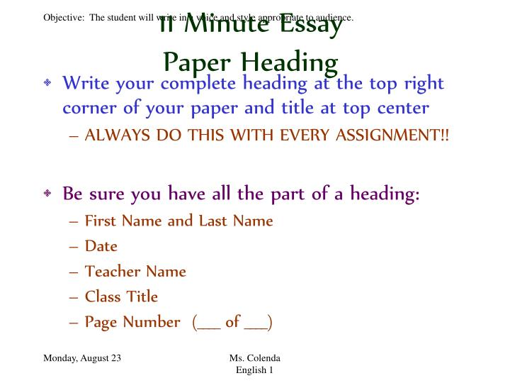 ppt 11 minute essay powerpoint presentation id 826552