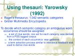 using thesauri yarowsky 1992