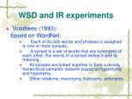 wsd and ir experiments