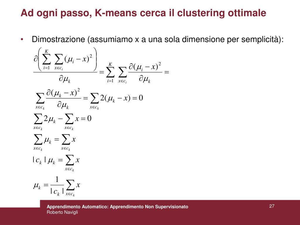 Ad ogni passo, K-means cerca il clustering ottimale