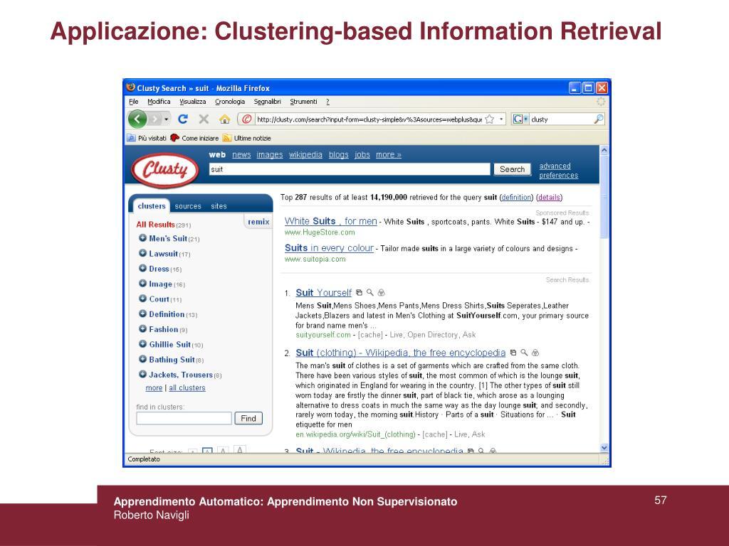 Applicazione: Clustering-based Information Retrieval