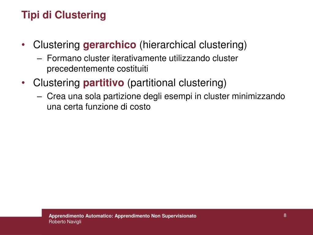 Tipi di Clustering