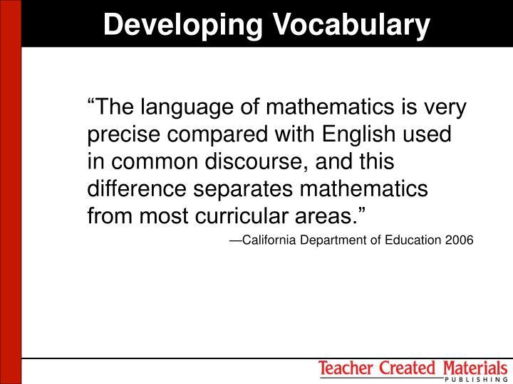 Developing Vocabulary