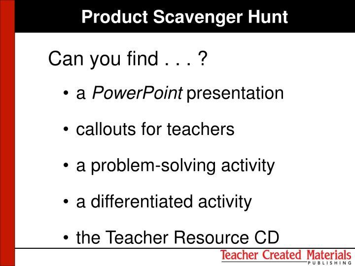 Product Scavenger Hunt