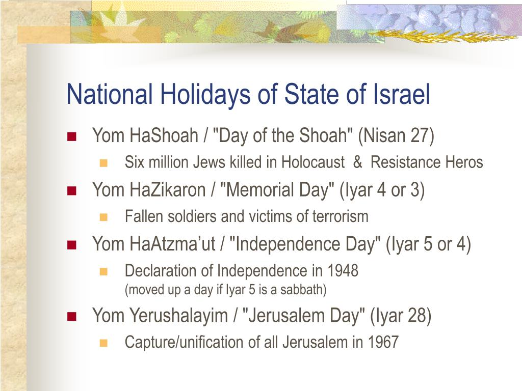 National Holidays of State of Israel