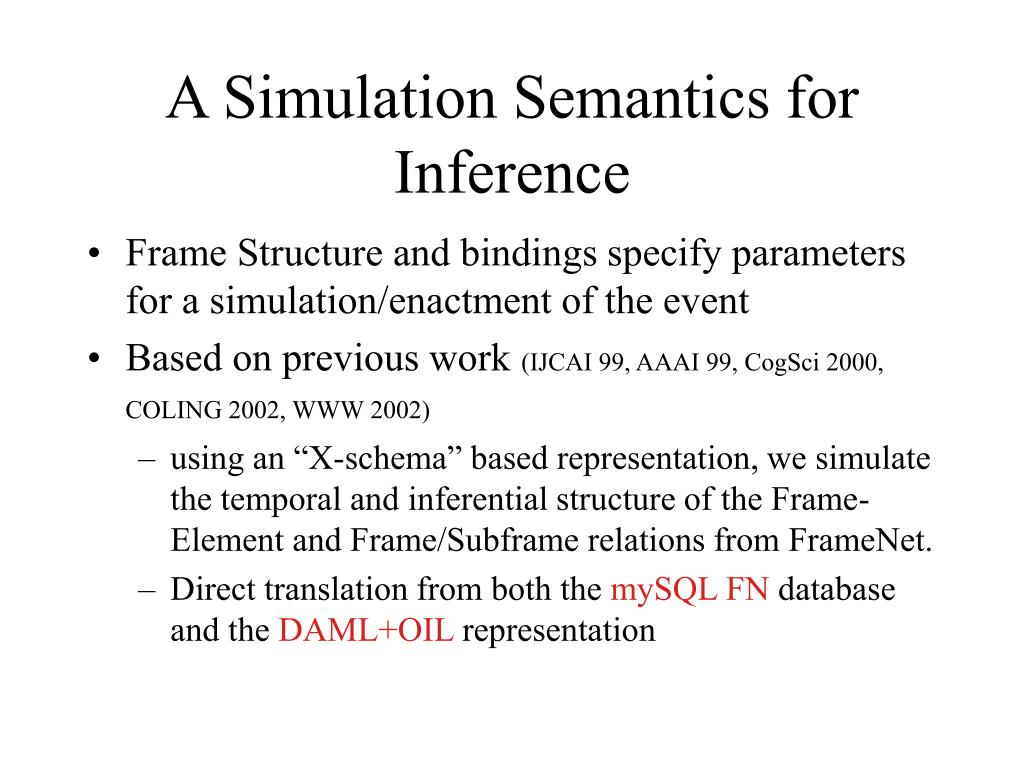 A Simulation Semantics for Inference