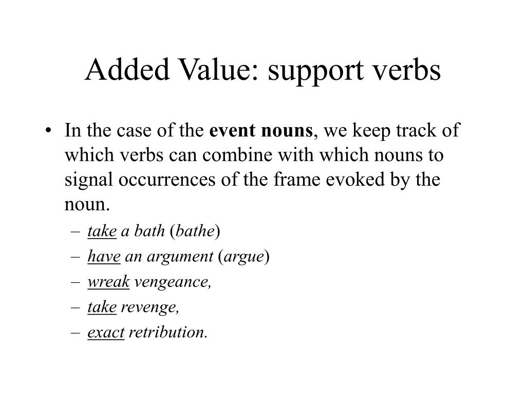 Added Value: support verbs