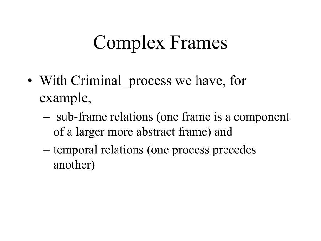 Complex Frames