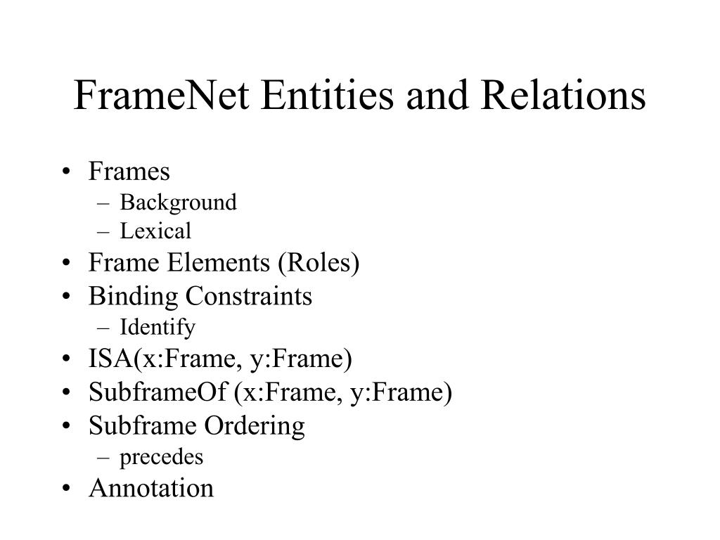 FrameNet Entities and Relations