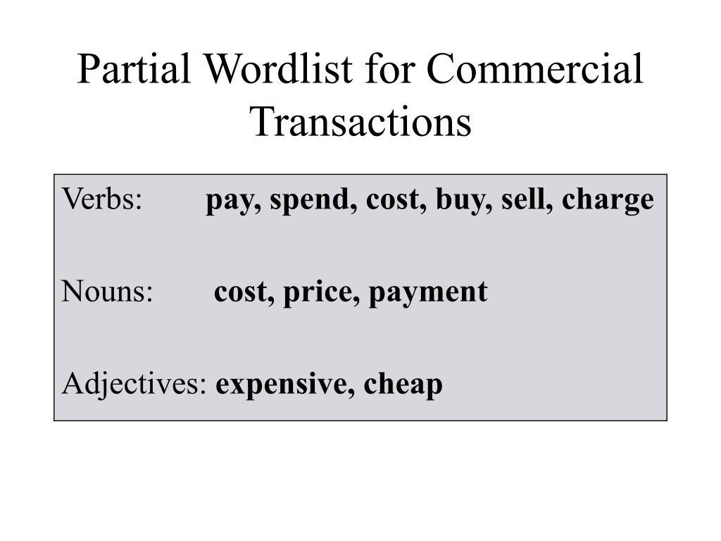 Partial Wordlist for Commercial Transactions
