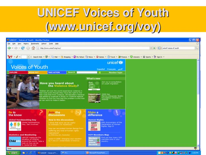 UNICEF Voices of Youth (www.unicef.org/voy)
