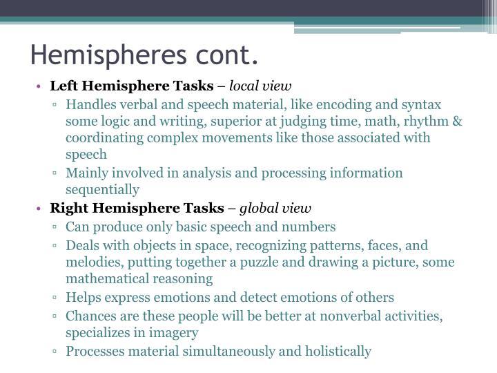Hemispheres cont.