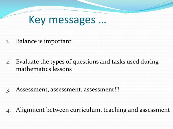 Key messages …
