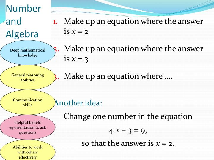 Make up an equation where the answer is