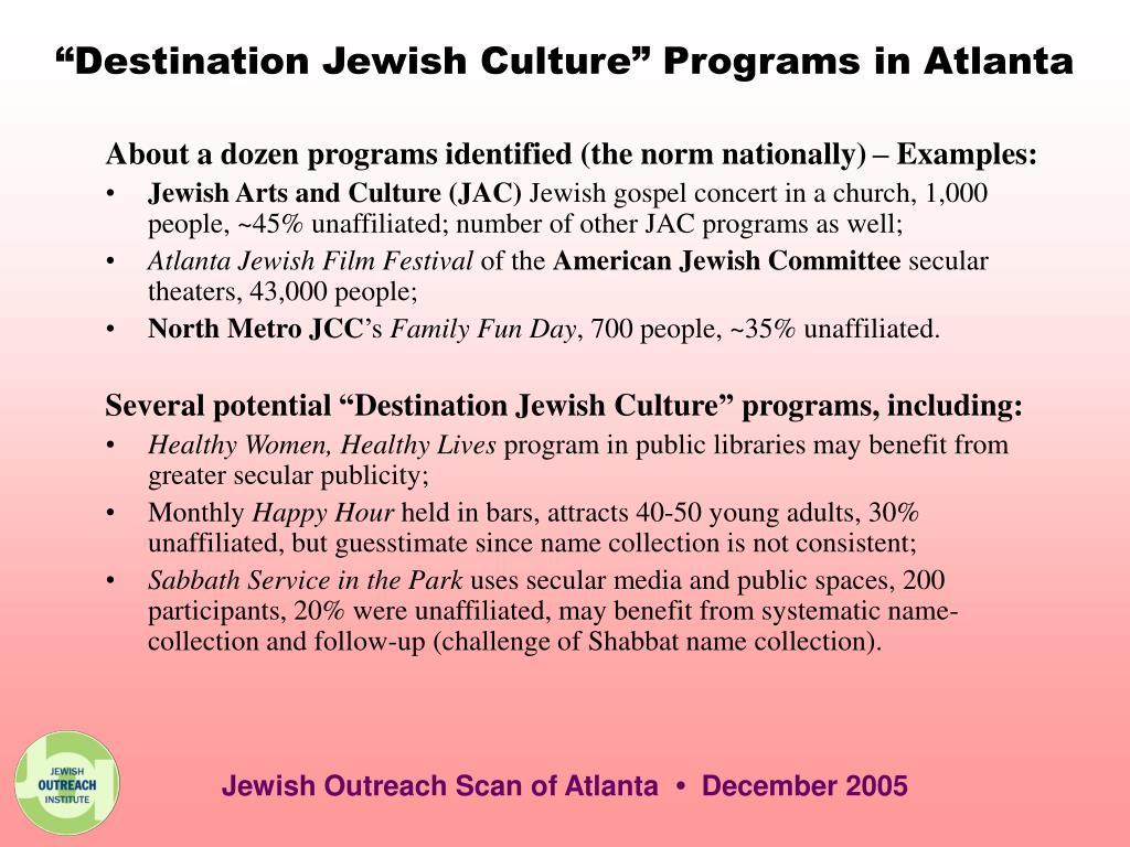 """""""Destination Jewish Culture"""" Programs in Atlanta"""