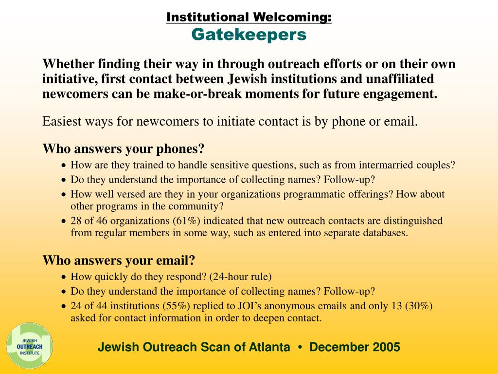 Institutional Welcoming: