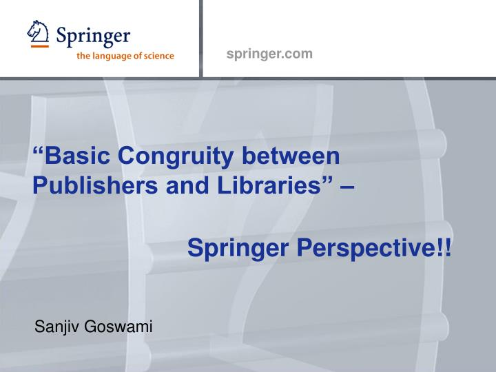 basic congruity between publishers and libraries n.