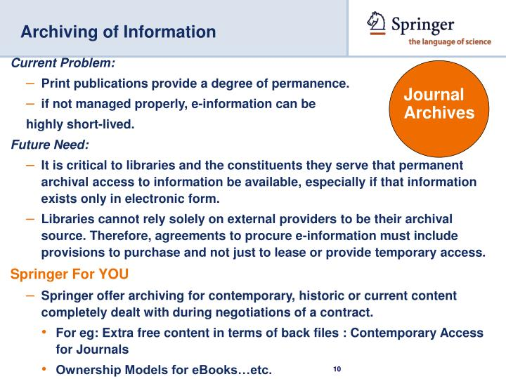 Archiving of Information