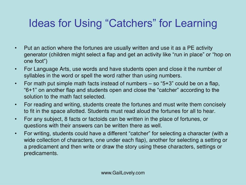 """Ideas for Using """"Catchers"""" for Learning"""