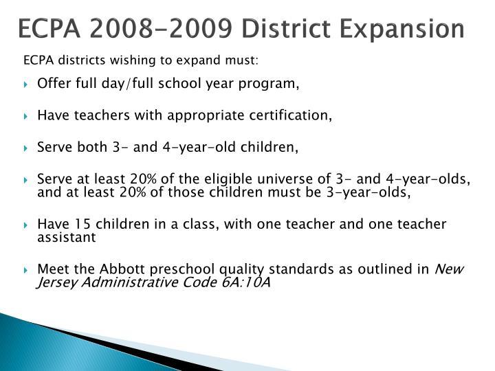 ECPA 2008-2009 District Expansion