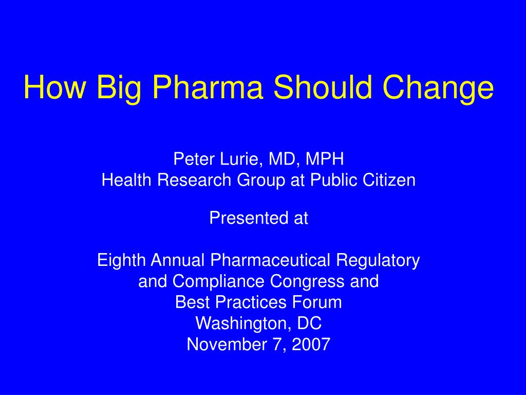 how big pharma should change l.