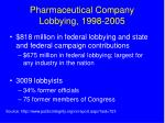 pharmaceutical company lobbying 1998 2005