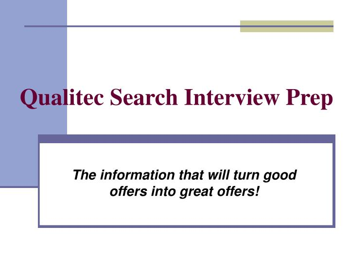 Qualitec search interview prep