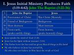 i jesus initial ministry produces faith 1 19 4 42 john the baptist 3 22 36