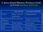 i jesus initial ministry produces faith 1 19 4 42 narrative 1 19 2 25