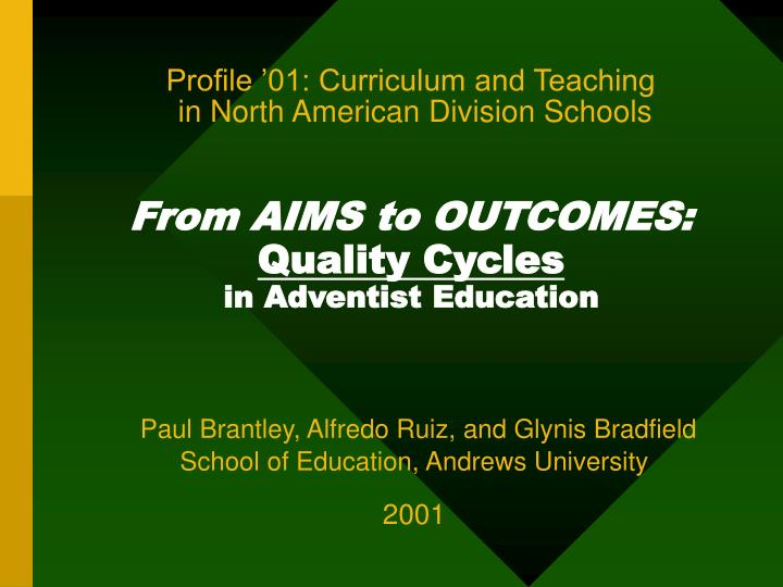 Profile '01: Curriculum and Teaching