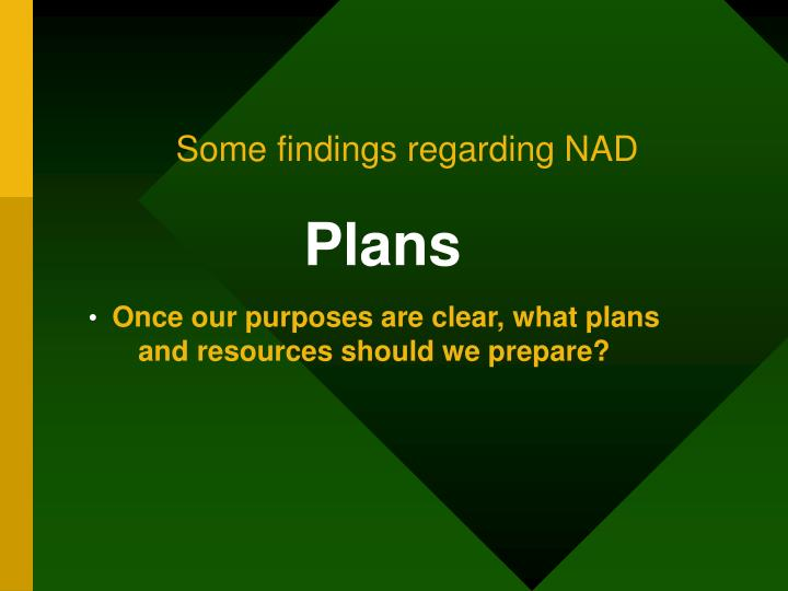 Some findings regarding NAD