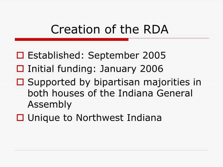 Creation of the rda