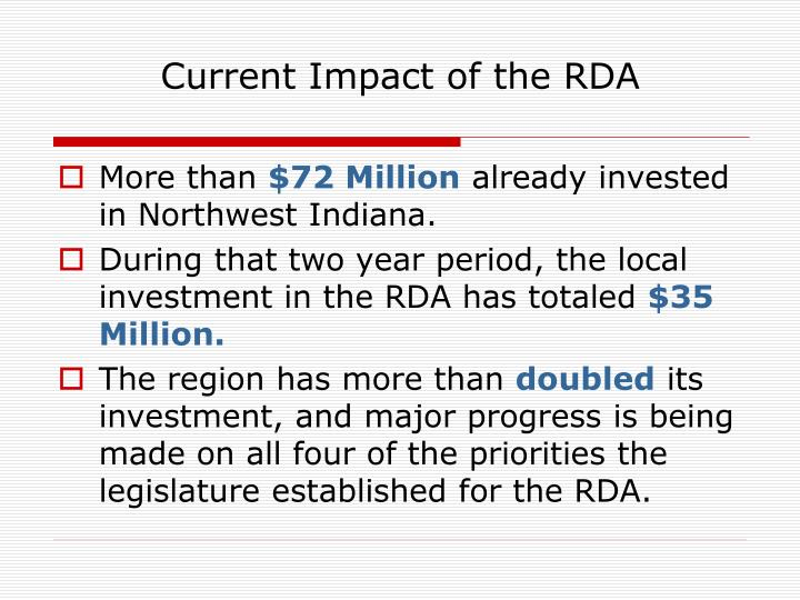 Current Impact of the RDA