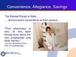 convenience allegiance savings