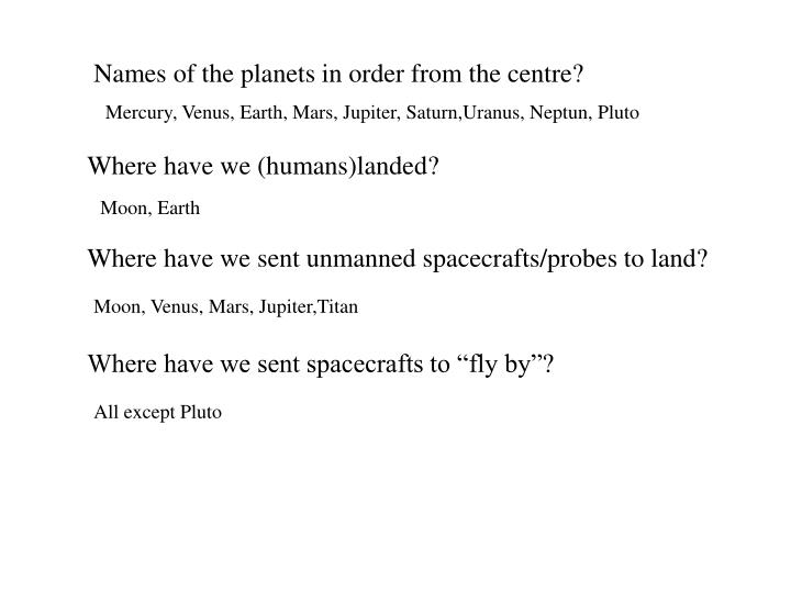 Names of the planets in order from the centre?