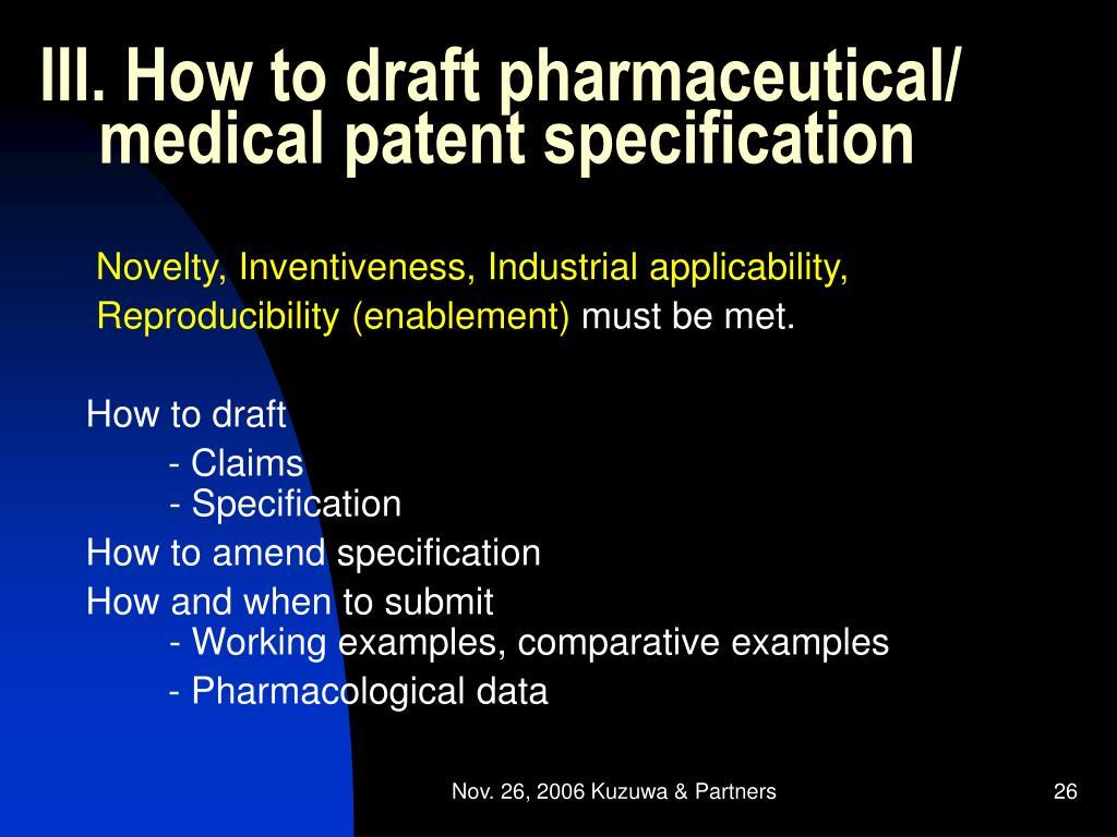 III. How to draft pharmaceutical/