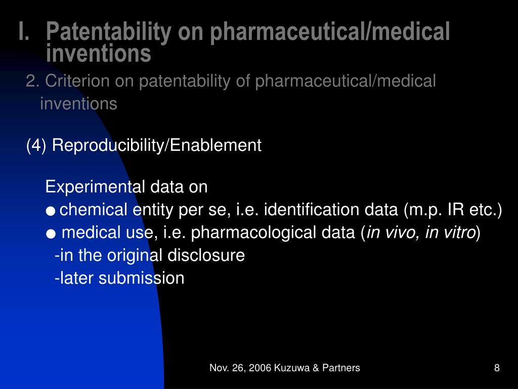 Patentability on pharmaceutical/medical inventions