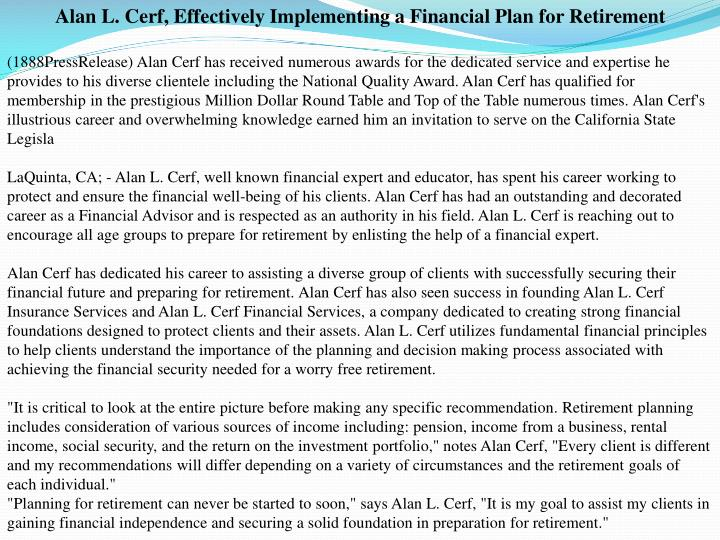 Alan L. Cerf, Effectively Implementing a Financial Plan for Retirement