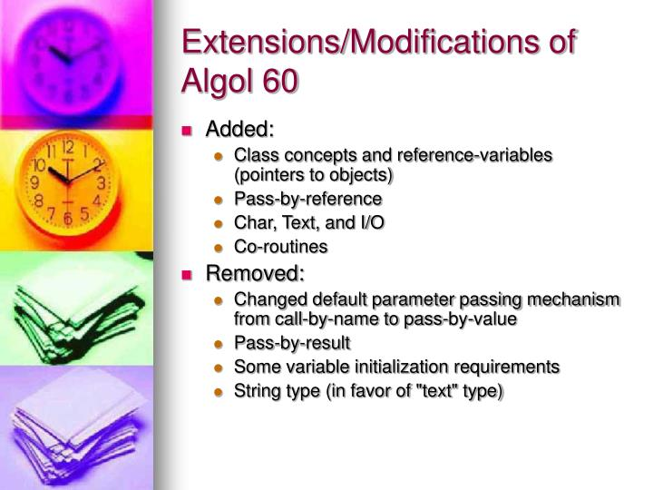 Extensions/Modifications of Algol 60