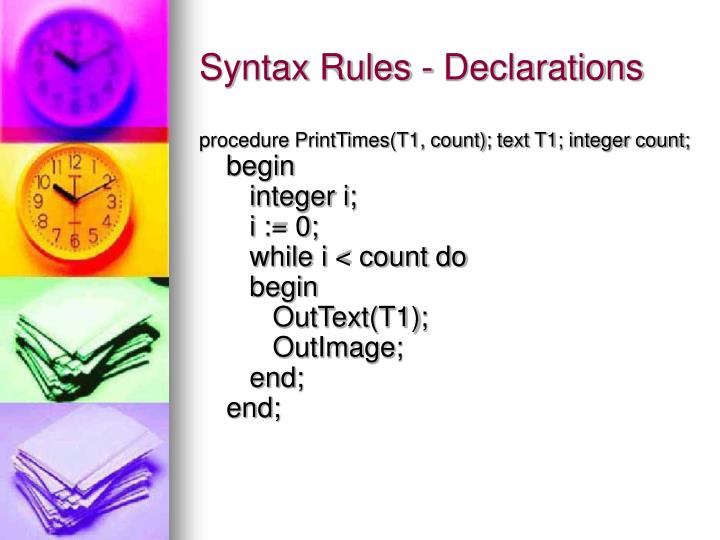 Syntax Rules - Declarations