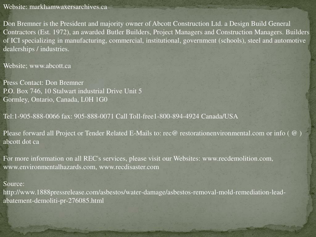 Website: markhamwaxersarchives.ca