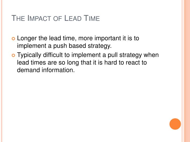 The Impact of Lead Time