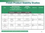 finish product stability studies