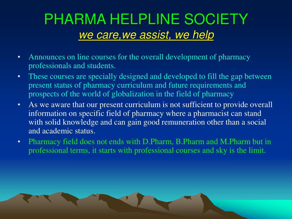 pharma helpline society we care we assist we help l.