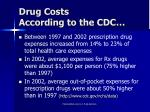 drug costs according to the cdc