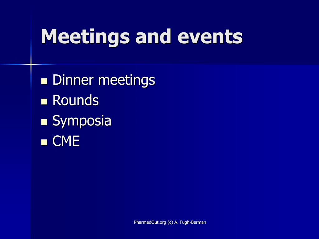 Meetings and events