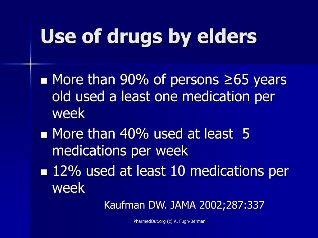 Use of drugs by elders