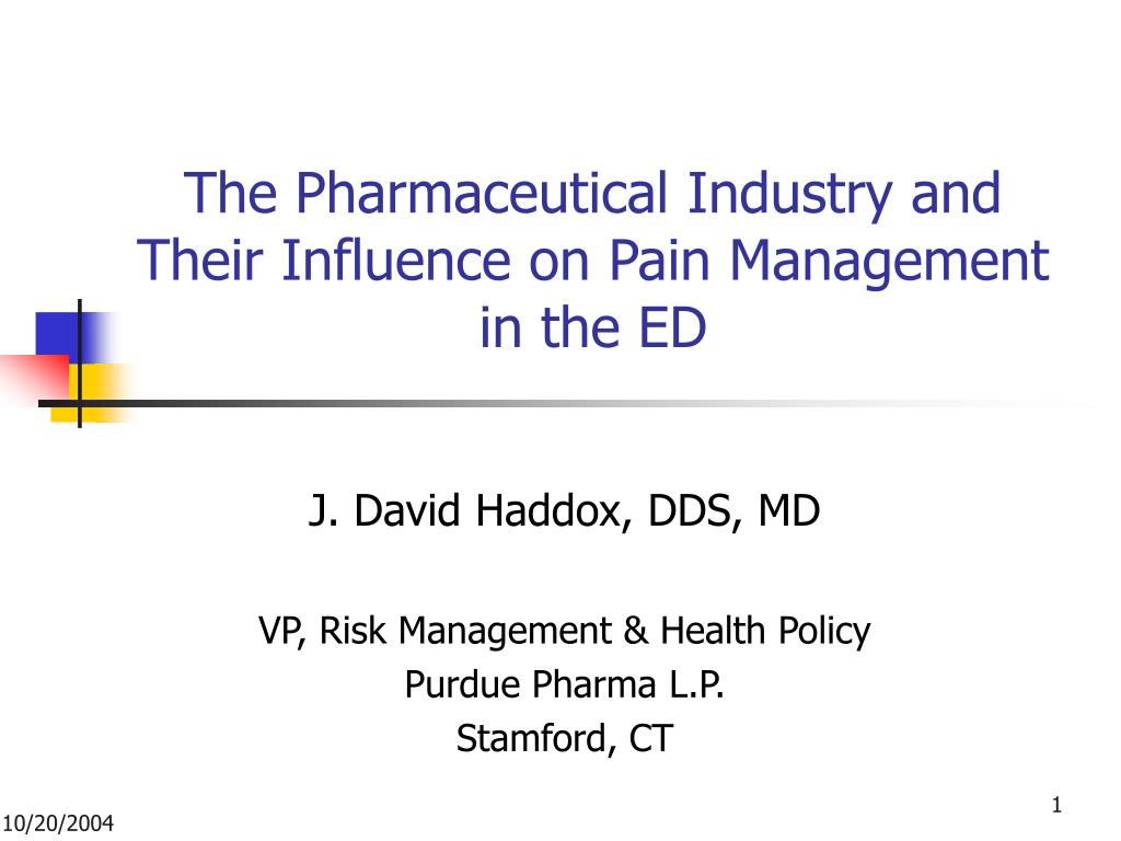 the pharmaceutical industry and their influence on pain management in the ed l.