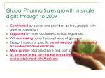 global pharma sales growth in single digits through to 2009