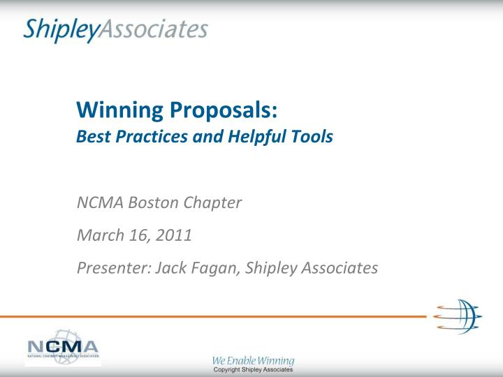 winning proposals best practices and helpful tools n.